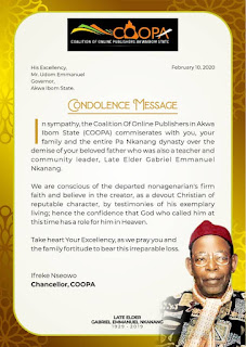 NEWS: COOPA CONDOLES GOV. EMMANUEL