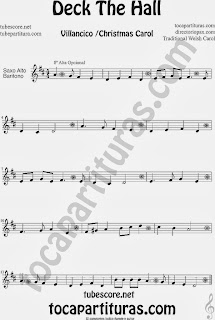 Partitura de Deck The Hall para Saxofón Alto y Sax Barítono Villancico Popular Christmas Carol Sheet Music for Alto and Baritone Saxophone Music Scores