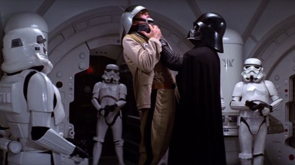 Darth Vader strangling a rebel soldier on the blockade runner