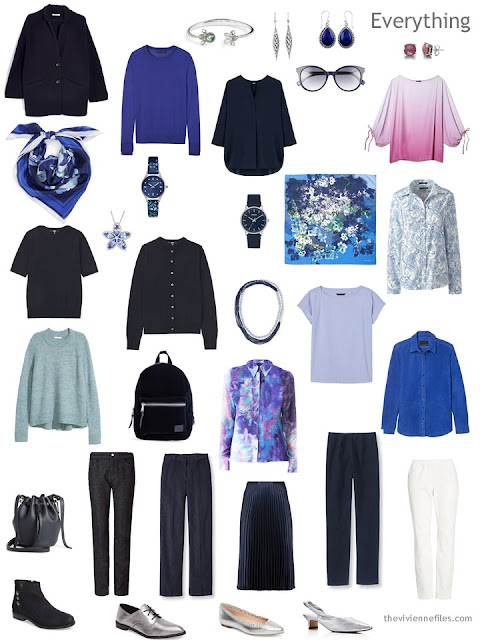 a 4 by 4 Wardrobe in Navy with floral accents and accessories