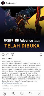 Garena Meluncurkan Free Fire (FF) Advance Server! Ketahui Informasinya Disini
