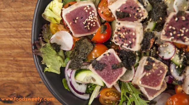tuna, salad, pumpkin, recipe, food, method, ingredients, serve, dishes