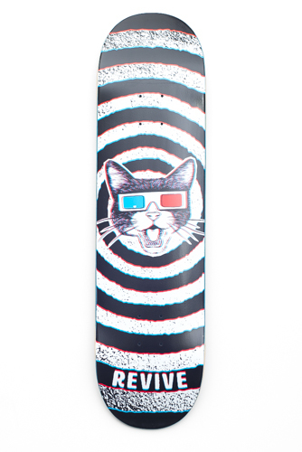 82e5943d I for one love the 3D cat boards, as they come with 3D glasses! Great  stuff. Here are the latest decks from Revive! Now go shred!