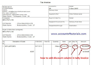 how to add discount column in tally invoice