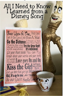 "All I need to know in life I learned from a Disney song.  Get this free printable for your home or party and always remember to ""go the distance"", ""kiss the girl"", and ""let your heart decide."" #disneysong #disneyprintable #allineedtoknowinlife #diypartymomblog"