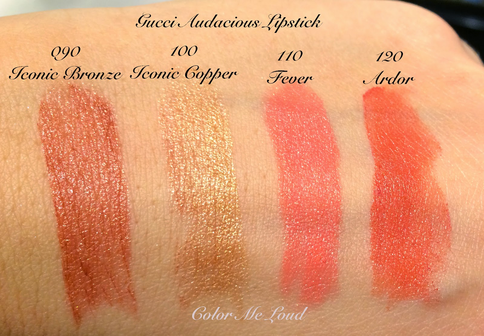 Gucci Audacious Lipstick Swatches, Iconic Bronze, Iconic Copper, Fever and Ardor