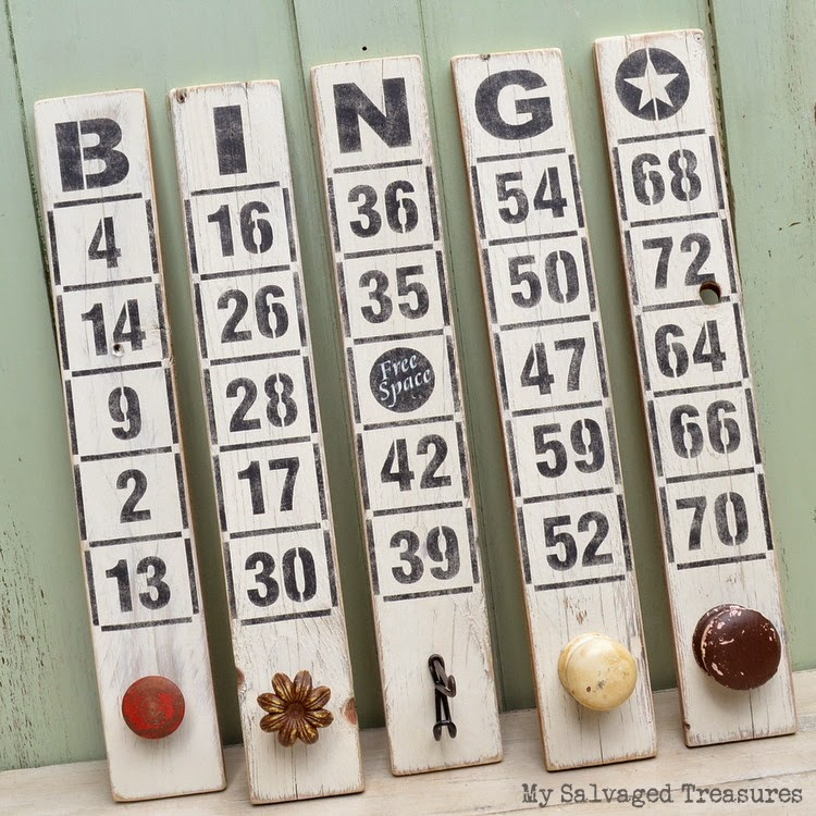 #oldsignstencils hanging Bingo stenciled pallet boards MySalvagedTreasures