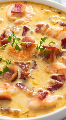 Bacon, Shrímp And Corn Chowder
