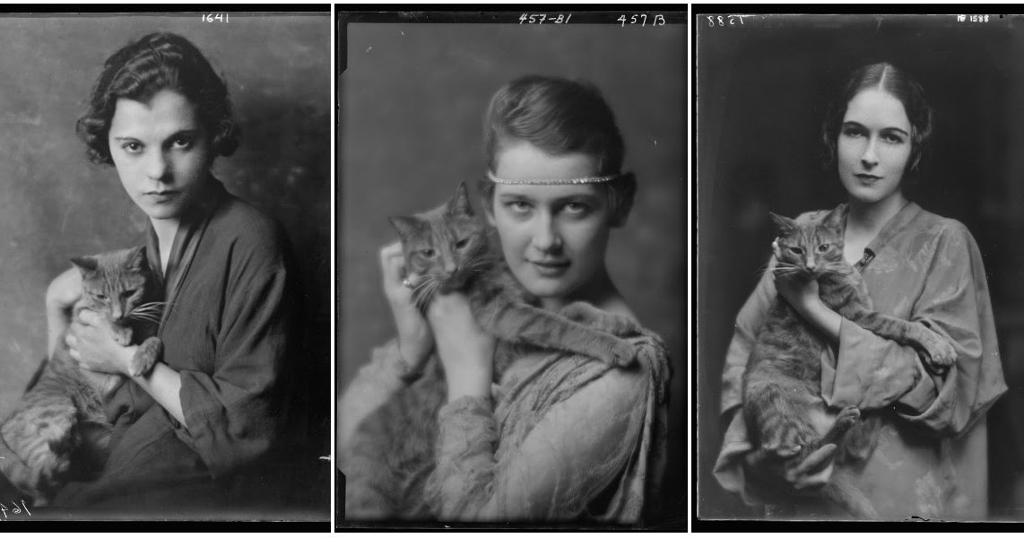 22 Adorable Studio Portrait Photos of Beautiful Young Girls With Buzzer the Cats From Between the 1900s and 1910s