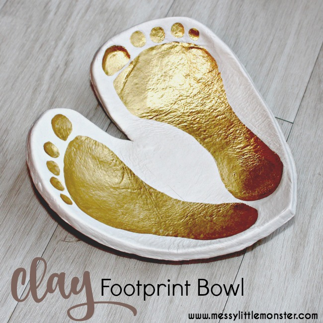 DIY Clay Footprint Bowl Keepsake.  A perfect DIY kid made gift created from air dry clay. Use prints from babies, toddlers and preschoolers, or even older children to create this cute footprint craft.