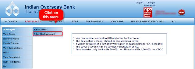 IOB netbanking Interface shown by Techrajput