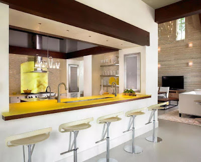 Yellow table top with white stools for kitchen bar idea