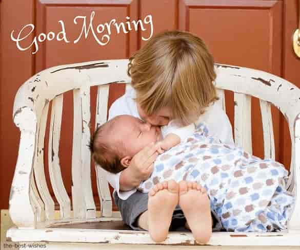 gud mrng with a cute baby kiss images hd