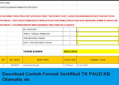 Download Contoh Format Sertifikat Tk Paud Kb Otomatis Xls Wikipedia Pendidikan