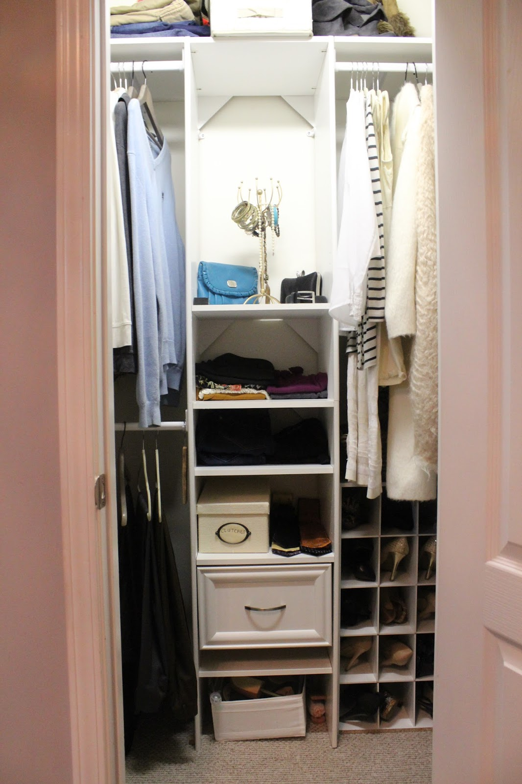 When We Bought Our Home, The Master Closet Had Wired Racks Installed. We  Got Rid Of The Wire Racks And Opted For Closet Maid Custom Closet System.