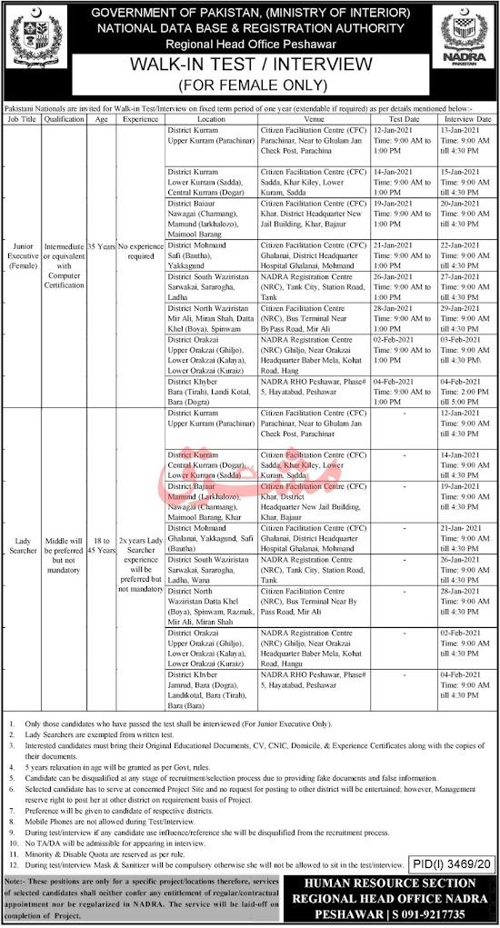 Latest Nadra Govt Jobs 2021 Ministry of Interior Job