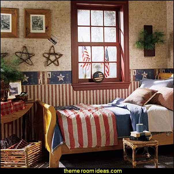 Independence Day stars stripes bedroom decorating 4th July Americana red white blue bedroom ideas