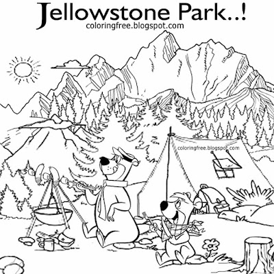 Kids cartoon Yogi Bear camp resort Jellystone park encampment tents outdoor cooking coloring in page