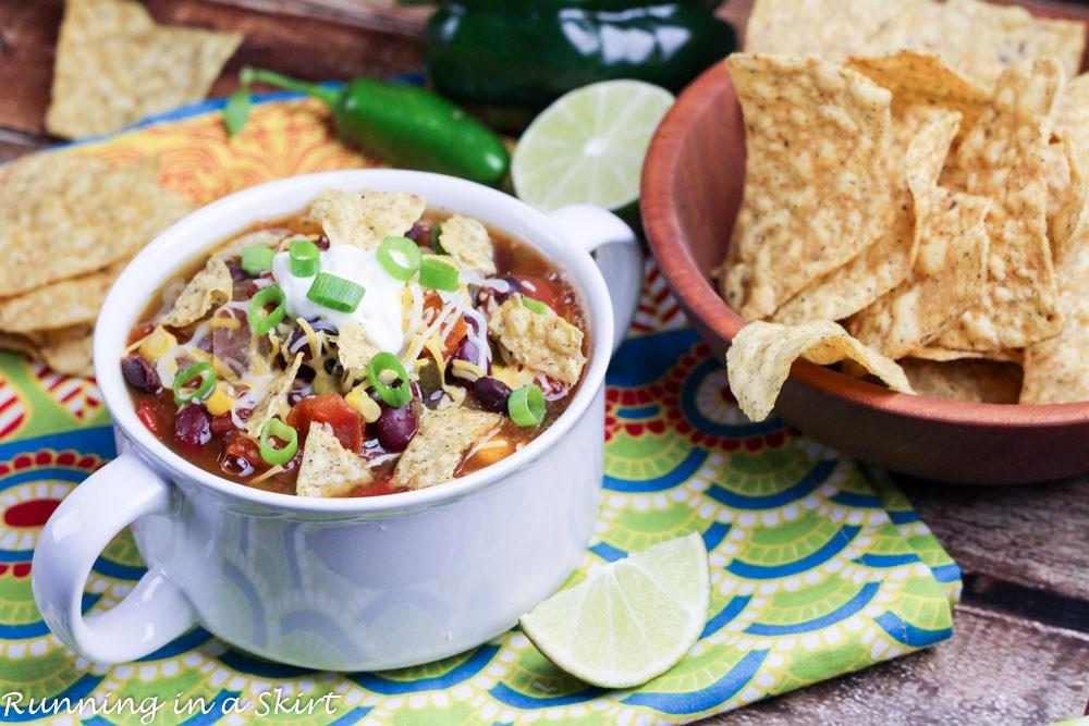 Vegetarian Crock Pot Taco Soup #vegetarian #soup #vegan #taco #breakfast