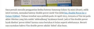 Baterai Vizz Jelek ? atau Bagus ?