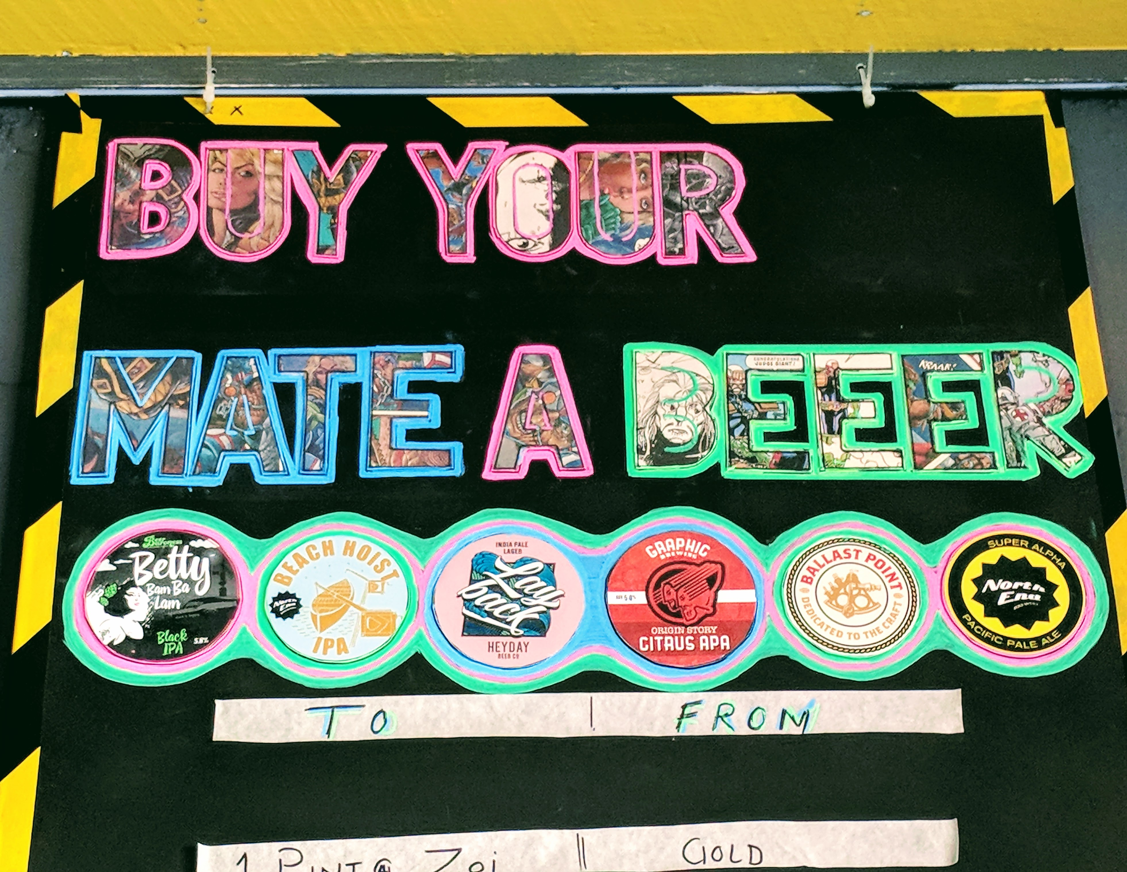 'Buy Your Mate A Beer' board at the Photonflux bar (Wellington)