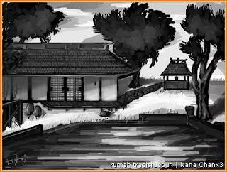 Gambar lukisan rumah tradisional Jepun di tepi kolam atau sungai oleh Nana Chan