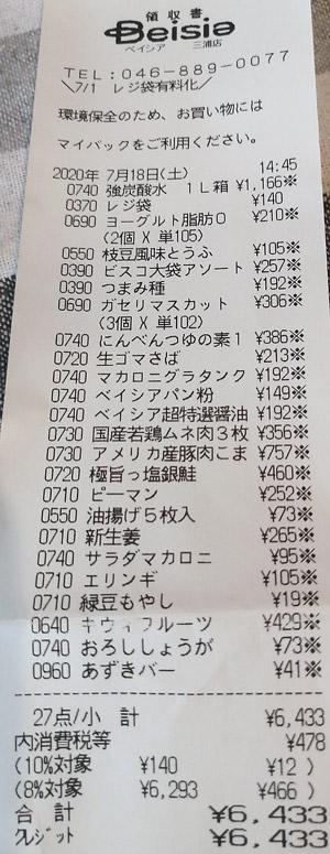 ベイシア 三浦店 2020/7/18 のレシート