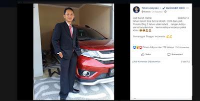 Mastimon Beli Mobil dari Hasil Ngeblog dan Menjadi Inspirasi Blogger Indonesia