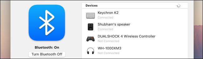 إعدادات Bluetooth على macOS
