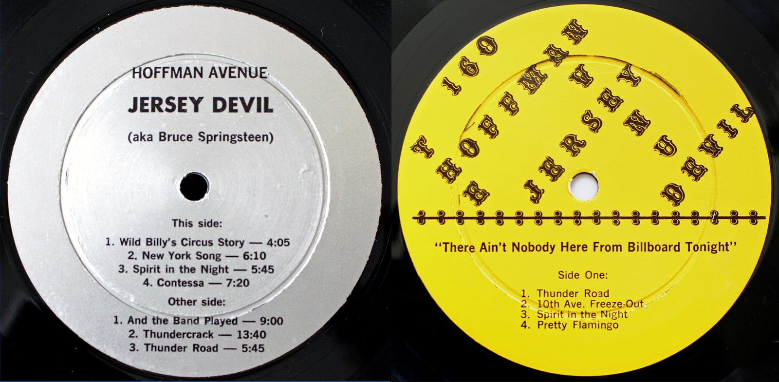 Custom record labels of the first har 147 left and second har 160 right releases from hoffman avenue records
