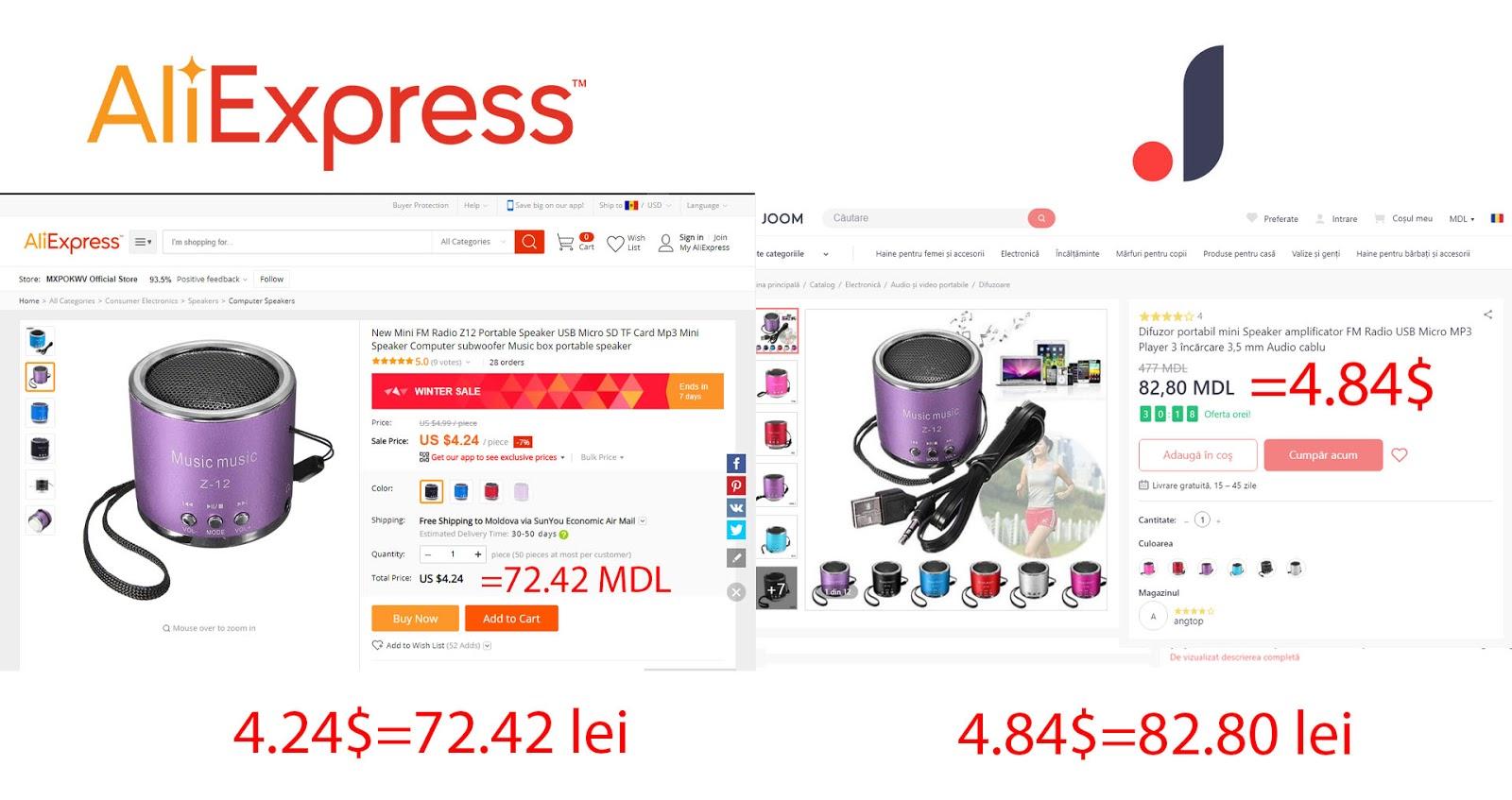Difuzor de pe Aliexpress sau Joom. Ce magazin online îi mai bun Joom sau Aliexpress cu livrare în Moldova sau Romania.