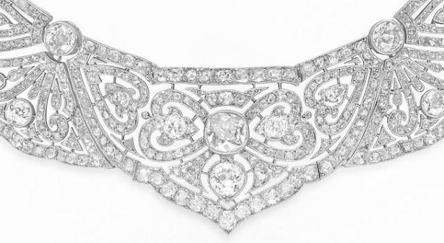 Detail: Belle Epoque diamond necklace. Via Diamonds in the Library.
