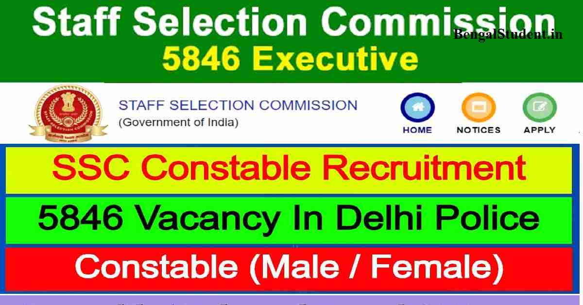 SSC Delhi Police Constable Recruitment 2020 Apply Online For 5846 - Staff Selection Commission