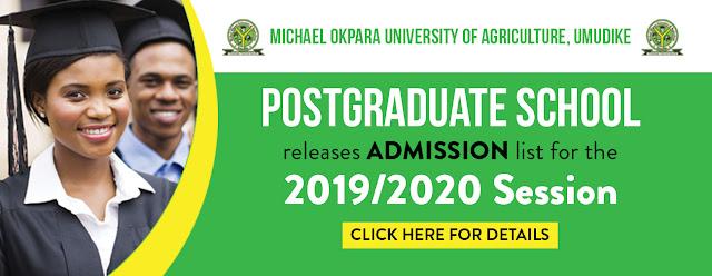 MOUAU Postgraduate Admission List 2019/2020 | PGD, Masters & PhD