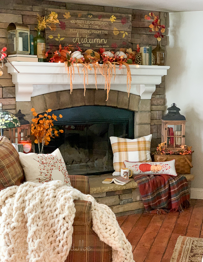 Fall decor, fall mantel in rustic style famiy room with stone fireplace - www.goldenboysandme.com