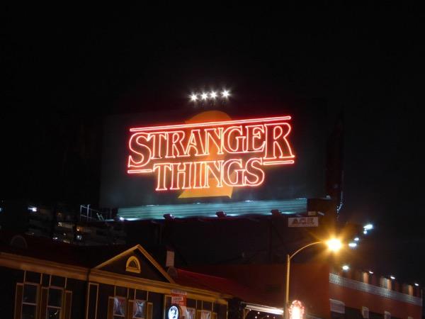 Stranger Things 2 neon sign billboard Sunset Strip
