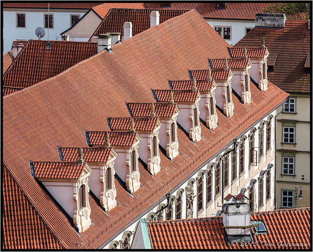 A row of rooftop windows on Wallenstain Palace in Lesser Town Prague