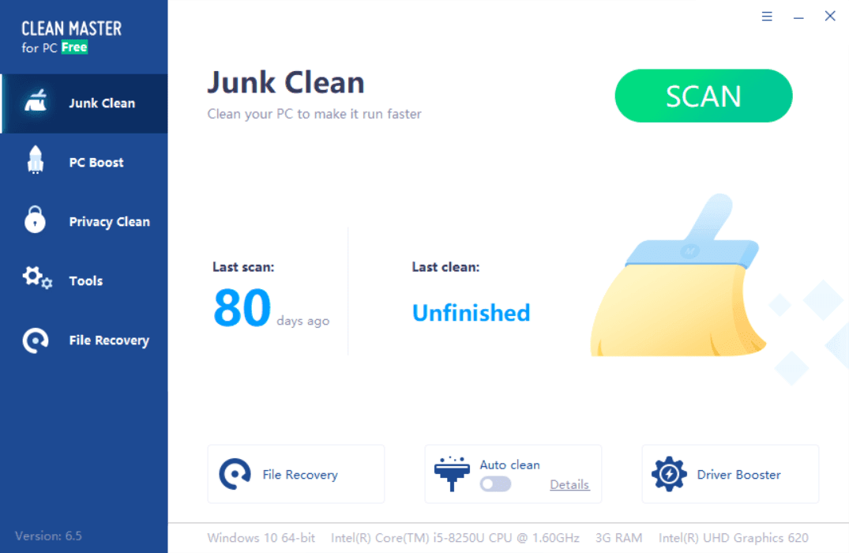 Clean Master for PC Main Interface Screenshot