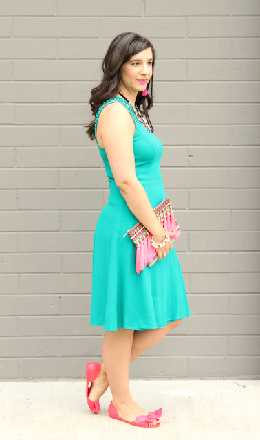Turquoise Sheath Dress Forever21_Target Tassel Clutch_Pink Bow Shoes