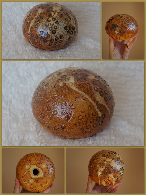 Honeybee and honeycomb textured soda fired pottery by Lily L.