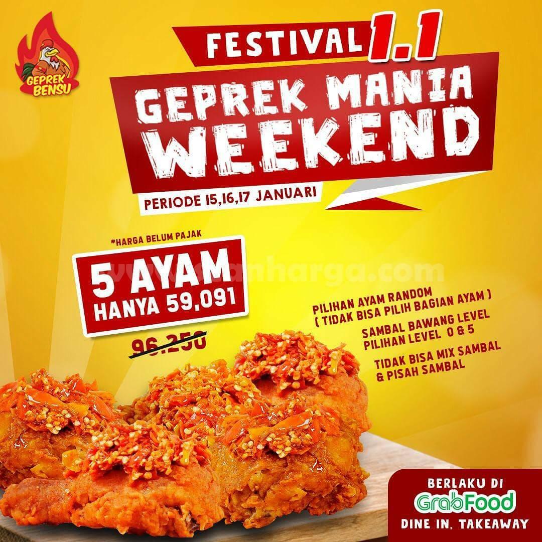 GEPREK BENSU Promo Weekend – Harga Spesial 5 Potong Ayam cuma Rp 59.091