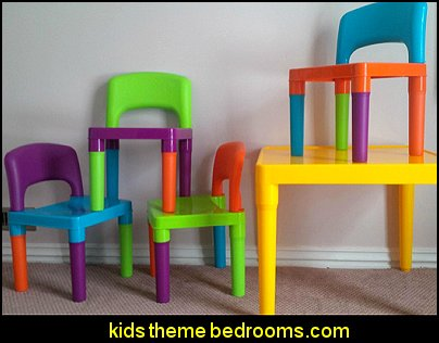 Kids  Table and 4-Chair Set  playrooms alphabet numbers decorating ideas - educational fun learning letters & numbers decor - abc 123 theme bedroom ideas - Alphabet room decor - Numbers room decor - Creative playrooms educational children bedrooms - Alphabet Nursery - Alphabet Wall Letters - primary color bedroom ideas - boys costumes - girls costumes pretend play - fun playroom furniture