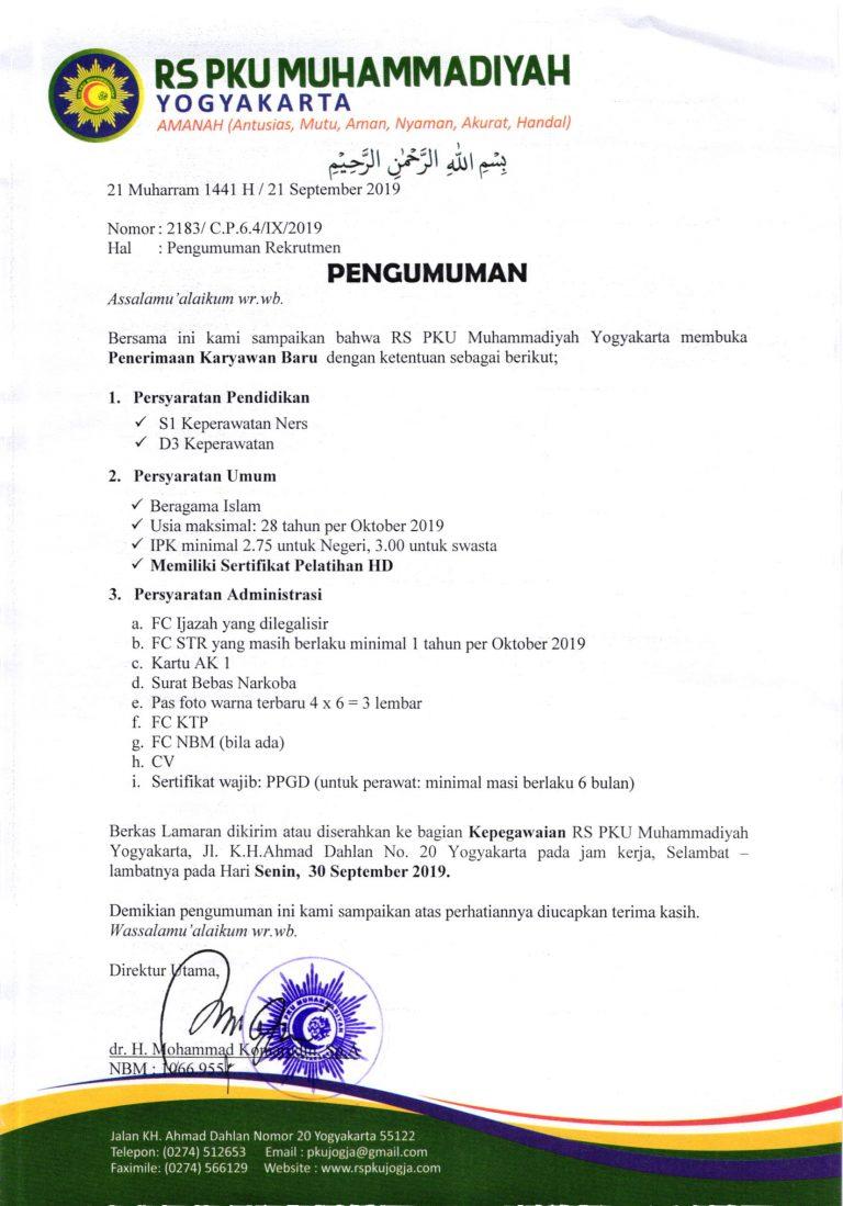 Lowongan Kerja Rumah Sakit Pku Muhammadiyah Yogyakarta Rekrutmen Dan Lowongan Kerja Bulan Februari 2021