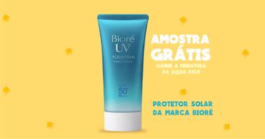 Amostras Grátis do Protetor Solar Aqua Rich Bioré Brasil basta seguir as instruções para conseguir a sua miniatura