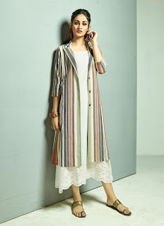 White kurti with striped button-down dress