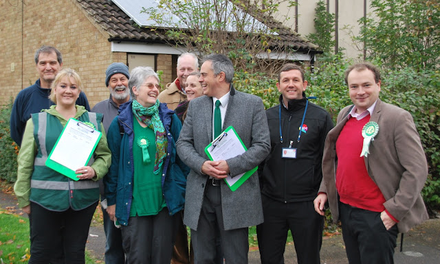 Peterborough Green Party members with Jonathan Bartley