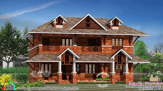 Kerala laterite stone home design 2200 sq-ft