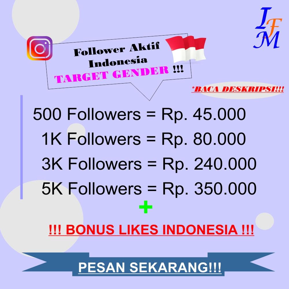 Jasa Tambah Follower Akun Instagram Aktif Indonesia Target Gender Jenis Kelamin