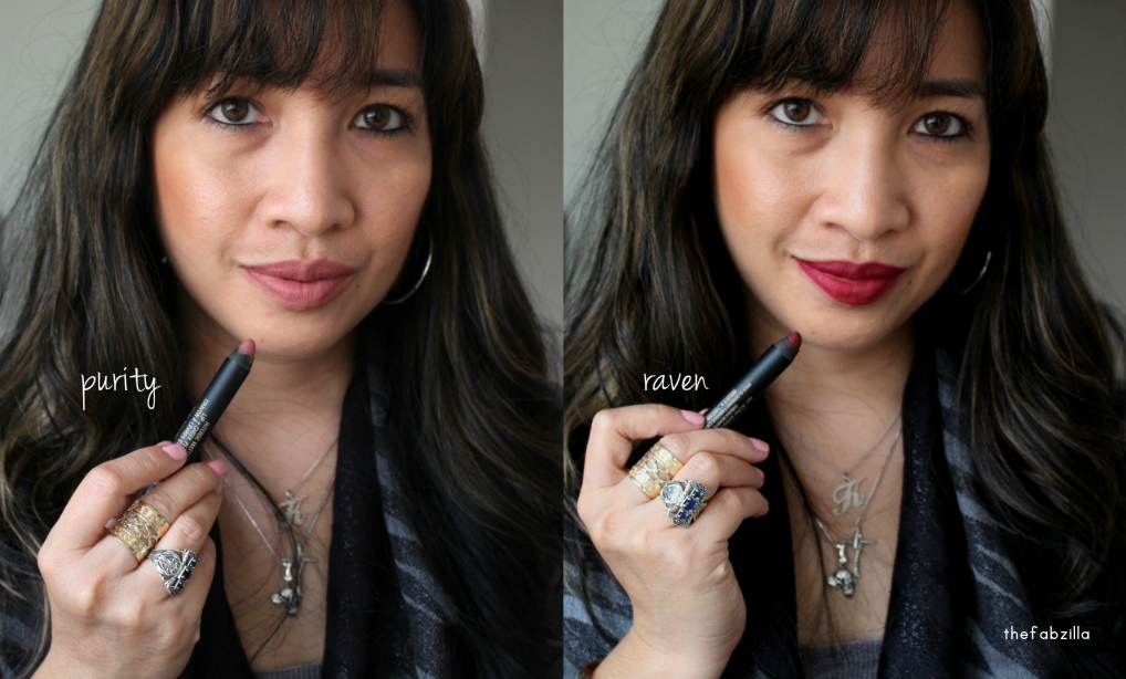 Nudestix Intense Matte Lip Cheek Pencil, Purity, Raven, Review, Swatch, my lips but better