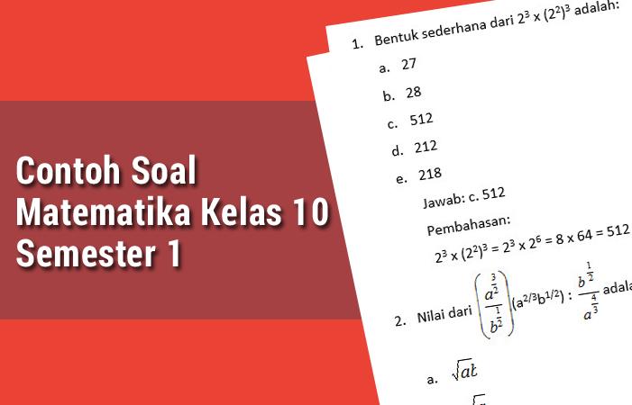 Contoh Soal Matematika Kelas 10 Semester 1